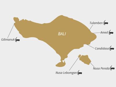 Carte des sites de plongée à Bali |