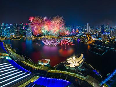 Feu d'artifice du nouvel an à Singapour |