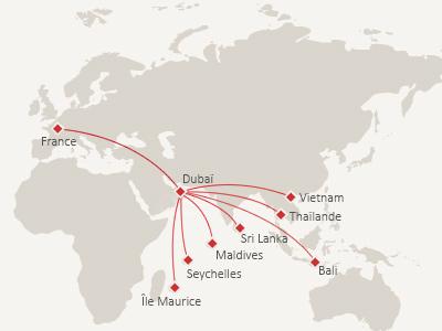Carte du réseau emirates |