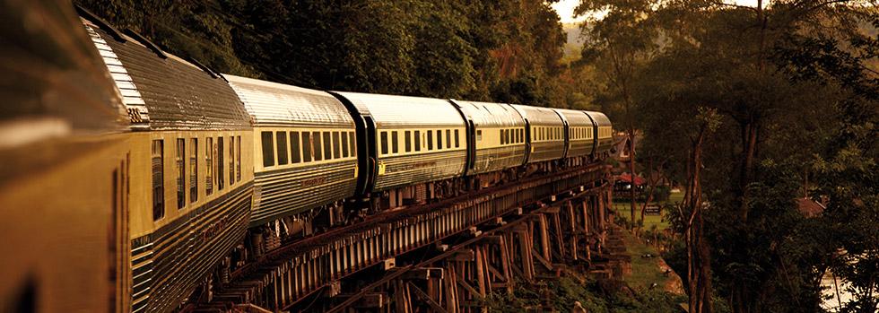 Vue du train oriental express depuis les rizières